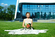 Stylish blond bride girl model in wedding dress Stock Photo