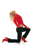 Stylish blonde in boot Royalty Free Stock Photo