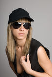 Stylish blonde girl in a sunglasses Royalty Free Stock Photo