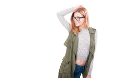 Stylish blonde woman posing in fashionable clothes Stock Images