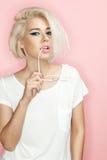 Stylish blonde woman with sunglasses Stock Image