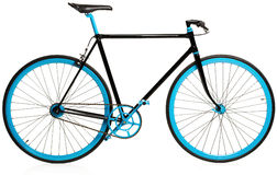 Stylish blue bicycle isolated on white Royalty Free Stock Photography