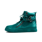 Stylish blue boots Royalty Free Stock Images