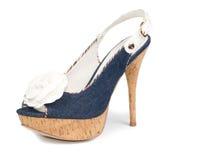 Stylish blue high-heeled ladies shoe Royalty Free Stock Photography