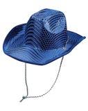 Stylish blue party hat. Shot over white background Royalty Free Stock Images