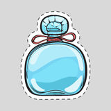 Stylish Blue Perfume Flacon for Women. Cut Patch. Stylish blue perfume flacon for women. Cut it out. Illustration of isolated female odour in cartoon style Royalty Free Stock Image