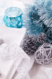 Stylish blue and silver Christmas table setting Royalty Free Stock Images