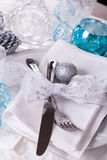 Stylish blue and silver Christmas table setting Stock Photography