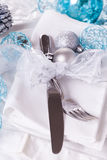 Stylish blue and silver Christmas table setting Royalty Free Stock Photography