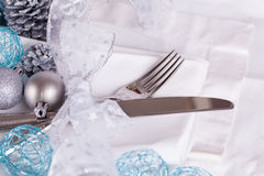 Stylish blue and silver Christmas table setting Stock Images