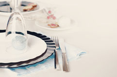 Stylish blue and silver Christmas table setting Royalty Free Stock Photos