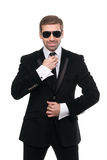 Stylish bodyguard with sunglasses. Isolated over white background royalty free stock photos