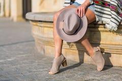 Stylish boho girl in the summer city Stock Photos