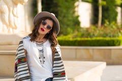 Stylish boho girl in the summer city Royalty Free Stock Photography