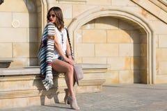 Stylish boho girl in the summer city Royalty Free Stock Photo