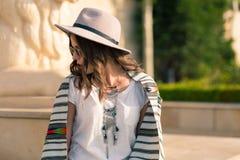 Stylish boho girl in the summer city Royalty Free Stock Photos