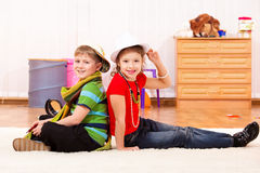 Stylish boy and girl Stock Images