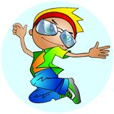 Stylish boy jumping Royalty Free Stock Photography