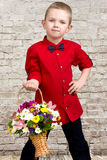 Stylish boy,pretty boy with a basket of flowers. Beautiful boy with a basket of flowers for mom Stock Images