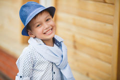 Stylish boy in the street near his home Stock Images