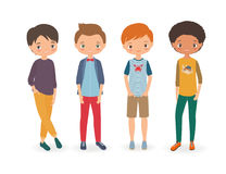 Stylish boys. Cartoon vector illustration Royalty Free Stock Photo