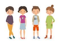 Stylish boys and girls. Cartoon vector illustration Royalty Free Stock Photography