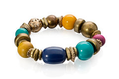 Stylish bracelet made of large stone beads Royalty Free Stock Images