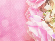 Stylish branding mock up with flowers to display your artworks with vintage filter colors background Royalty Free Stock Photo