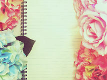 Stylish branding mock up with flowers to display your artworks with vintage filter colors background Stock Photo