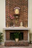 Stylish brick fireplace. Inside an American living room royalty free stock photo
