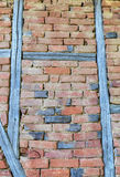 Stylish brick wall with wooden beams Royalty Free Stock Images