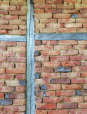 Stylish brick wall with wooden beams Royalty Free Stock Photos