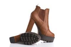 Stylish brown boots Stock Photo