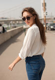 Stylish brunette beauty outdoors. Royalty Free Stock Image