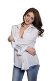 Stylish brunette smiling girl Stock Images