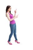 Stylish brunette wearing high shoes posing Stock Photography