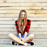 Stylish brunette woman portrait outdoor Stock Images