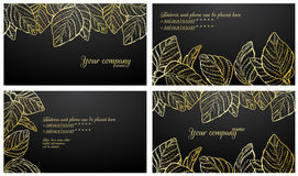 Stylish business card set. Black with gold stylish business card set Stock Image