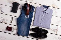 Stylish business clothing. Men's clothing on a wooden background Stock Photo
