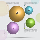 Stylish Business Infographic spheres. Glossy spheres Infographics for your business presentation on grey bacground Royalty Free Stock Image