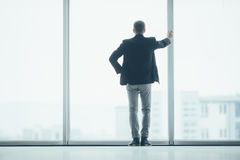 Stylish business man in the background of a large window in office Royalty Free Stock Image