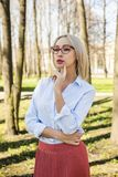 Stylish business woman, outdoors portrait Royalty Free Stock Photos