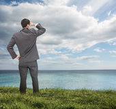 Stylish businessman looking at the sea Royalty Free Stock Photography