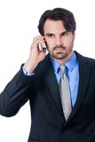 Stylish businessman talking on his mobile phone Stock Images
