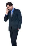 Stylish businessman talking on his mobile phone Stock Photos