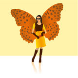 Stylish butterfly lady. In fashionable clothes stock illustration