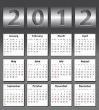 Stylish calendar for 2012. Stylish calendar with metallic drum effect for 2012. Sundays first Royalty Free Stock Photography