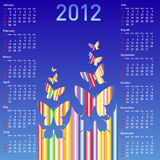 Stylish calendar with  butterflies for 2012. Week starts on Sunday Royalty Free Stock Photos