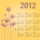 Stylish calendar with flowers for 2012. Week starts on Monday Stock Images