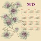 Stylish calendar with flowers for 2012. Week starts on Monday Stock Image
